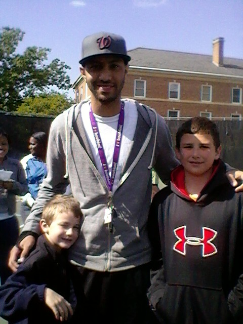 Triangle Blazers Basketball Team Member Harrison with brother Charles and UNC Chapel Hill Basketball player Kendall Marshall
