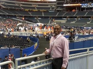 Coach Michael at players' entrance at AT&T Stadium